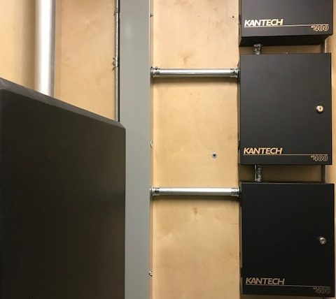Alarm panels on wall - 3 stacked